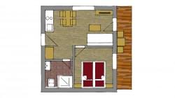 Apartmán V5 s jednou spálňou 2 + 2 prístelky s balkónom